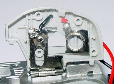 Wires soldered to contacts